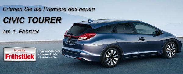 Feiern Sie mit uns am 1. Februar die Premiere des neuen Civic Tourer - beim großen Honda Frühstück!