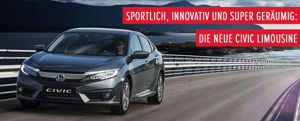 Sportlich, innovativ und super geräumig: Die neue Civic Limousine
